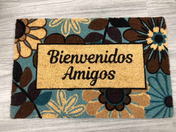 Bienvenidos Amigos! Welcome Mat from our Spanish Language Collection