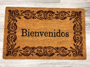 Bienvenidos with rust colored border  - Welcome Mat from our Spanish Language Collection