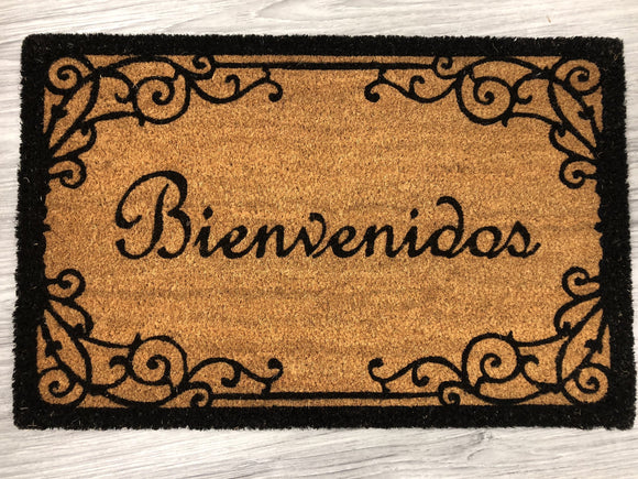 Bienvenidos with Printed Wrought Iron Inspired Border
