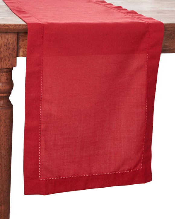 Famous Designer Hemstitch Rectangular Runner in Red, 14 inches x 72 inches
