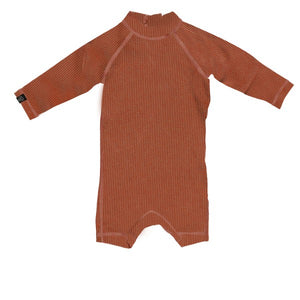 Beach and Bandits Earth Ribbed baby suit