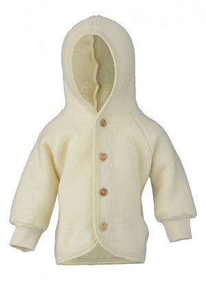 Engel Natur Hooded Jacket with wooden buttons naturel