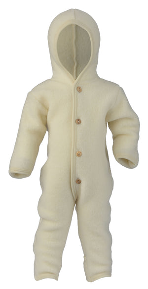 Engel Natur Hooded overall with wooden buttons natural