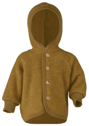 Engel Natur Hooded Jacket with wooden buttons saffron Mélange