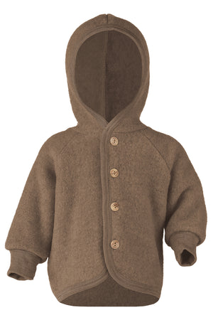 Engel Natur Hooded Jacket with wooden buttons walnut mélange