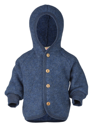 Engel Natur Hooded Jacket with wooden buttons blue mélange