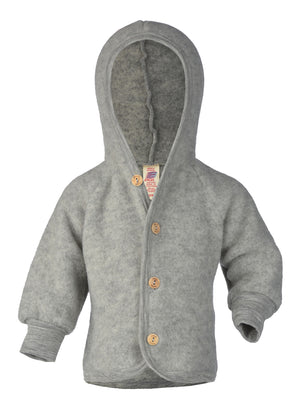 Engel Natur Hooded Jacket with wooden buttons light grey mélange
