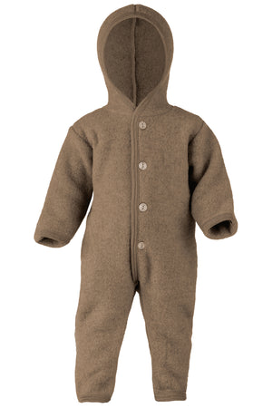 Engel Natur Hooded overall with wooden buttons Walnut Melange