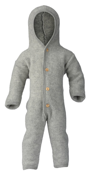 Engel Natur Hooded overall with wooden buttons light grey mélange