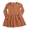 Blossom Kids Peter Pan Dress, Longsleeve, Leave Drops, Caramel Fudge
