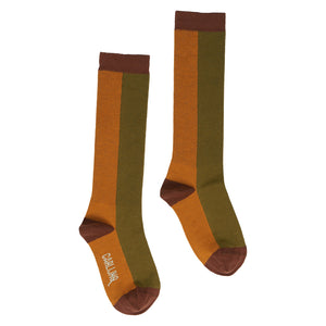 CarlijnQ Knee socks - Pumpkin/Green