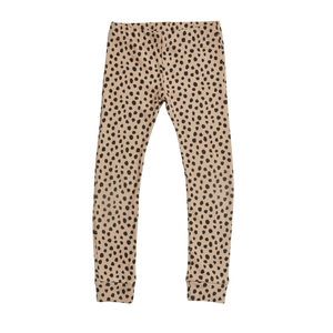 Blossom Kids Legging, Rib, Animal Dot, Warm Sand
