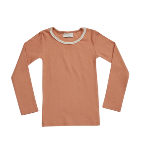 Blossom Kids Rib Longsleeve with Lace, Deep Toffee