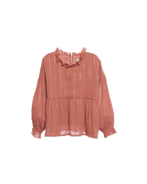 Wander & Wonder Ruffle Blouse Tan Lurex