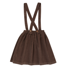 Blossom Kids Suspender Skirt, Dark Chocolate