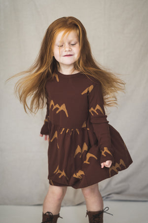 Lotiekids Dress Waist Seam Rust Brown