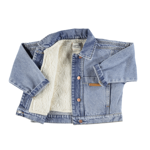Piupiuchick Denim Bomber washed rainbow print and Faux Fur Lining