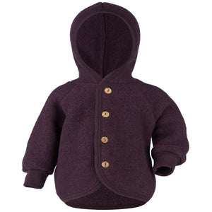 Engel Natur Hooded Jacket with wooden buttons lila mélange