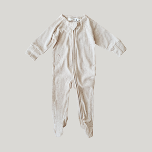 Susukoshi Organic Zip Growsuit L/S. Cotton Speckled
