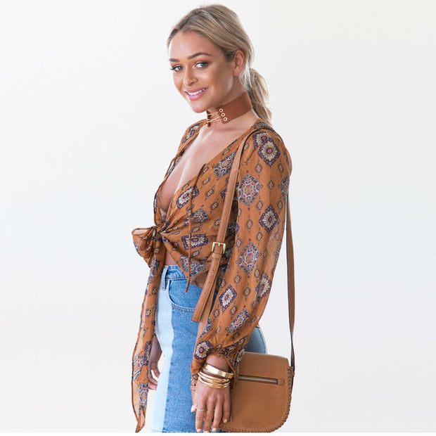 Boho tie-up top