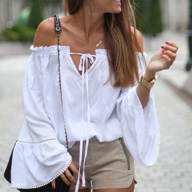 White flare blouse