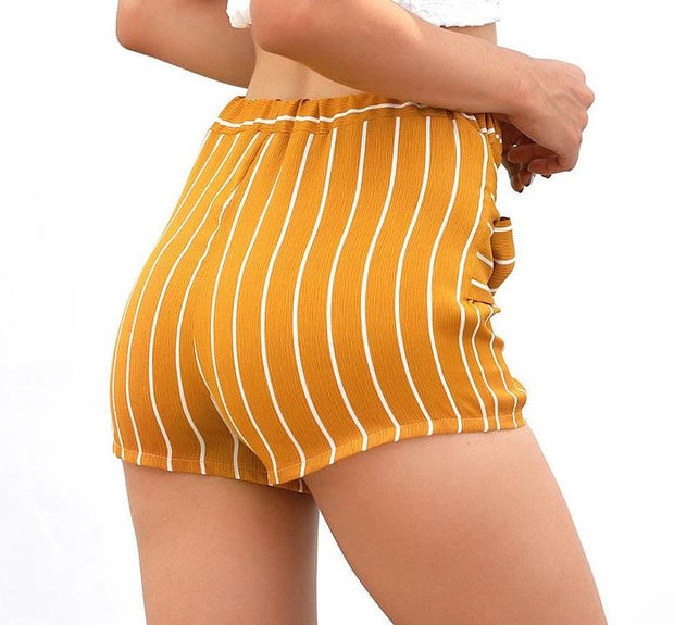 Striped tie-up shorts