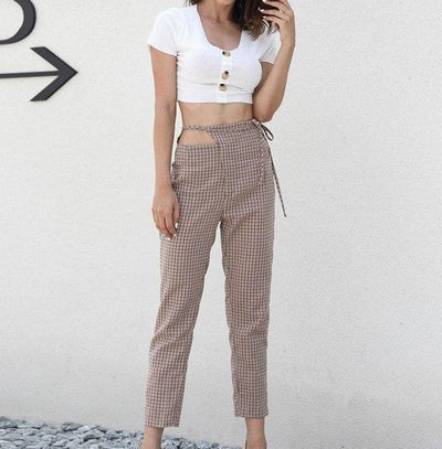 Vintage plaid tie up pants