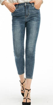High Waist 3/4 Skinny Stretch Jeans
