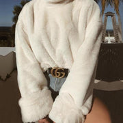 Faux fur turtleneck pullover