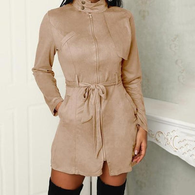 Faux suede trench