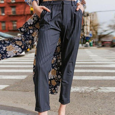 Navy pinstripe pants
