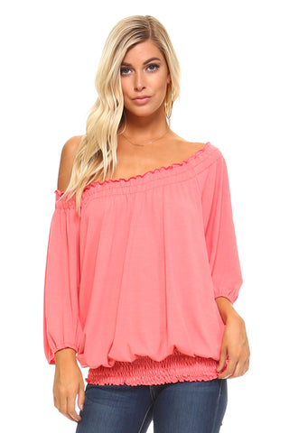 Women's 3/4 Three Quarter Sleeve Peasant Top with Elastic Neckline
