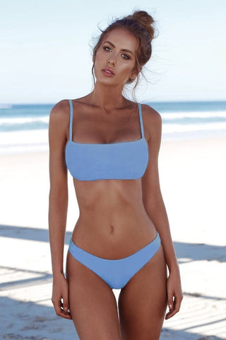 Solid Bandeau Swimsuit