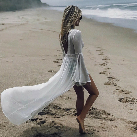 White Backless Cover up / Beach Tunic