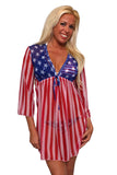 Gorgeous USA Flag Long Sleeve Cover-up Beach Dress