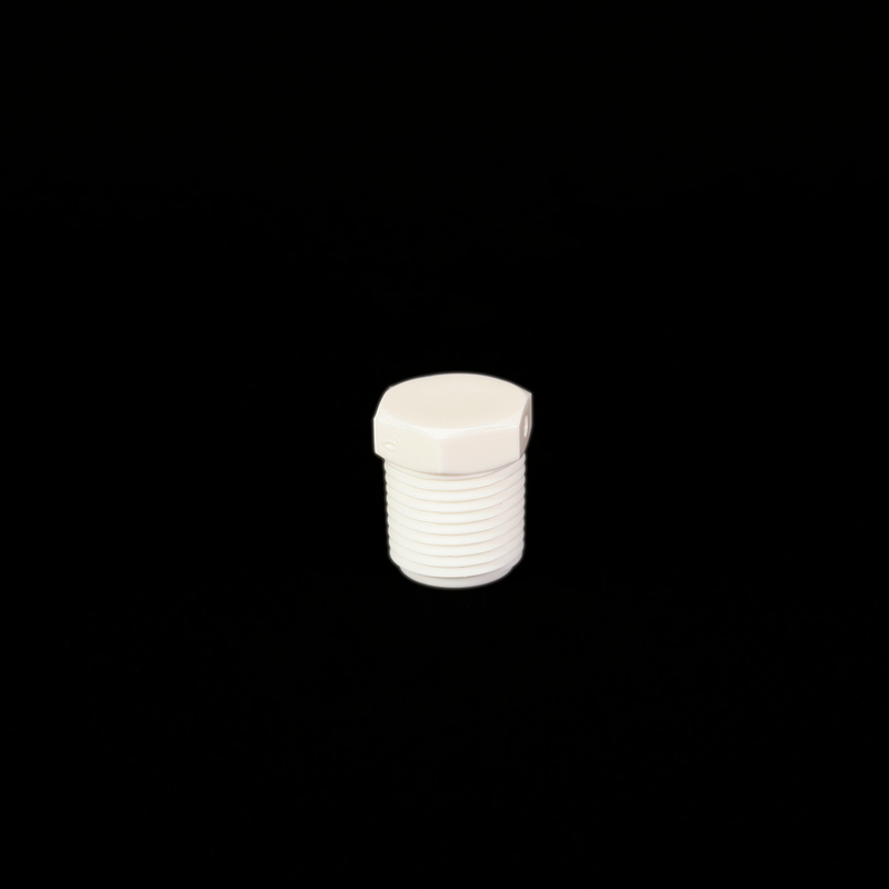 Plug Threaded White Nylon