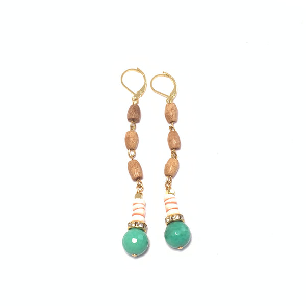 Tan Wood and Coral Earrings