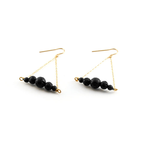 Lois Earrings - 18k gold filled chain with graduated lava - Simply Lava Collection