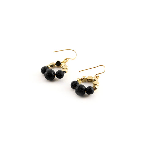 Lola Earrings - Brass beads with graduated lava rocks - Simply Lava Collection