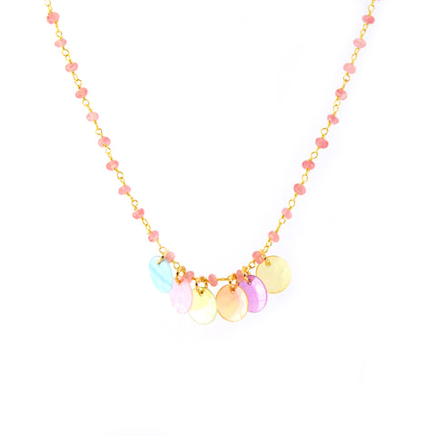 Tala Necklace Mermaid Collection with rose chain and bright Capiz shells