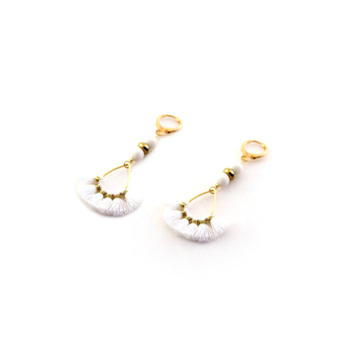 "Ganya Earrings ""White"" with mini teardrop fan suspended by cream lava and gold toned accents - Silk Road Collection"