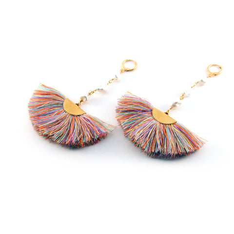 Sara earrings with gold tone pearl rosary chain and multi colored silk blend fan - Silk Road Collection