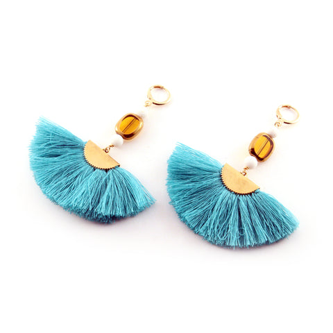 Tawny Earrings with teal silk blend fan, amber glass, cream lava and gold toned accents - Silk Road Collection