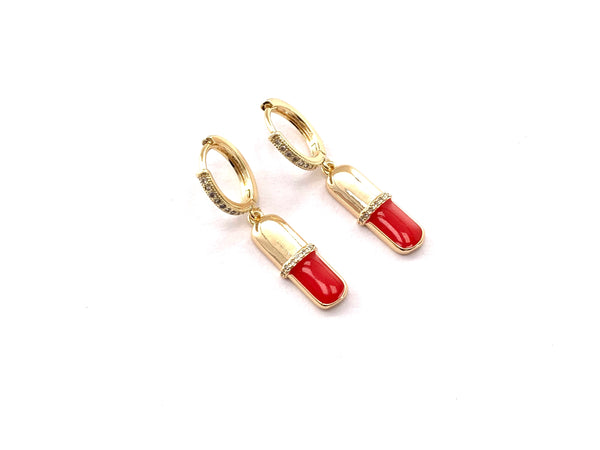 Red & Gold Pill Earrings - GOLD COLLECTION