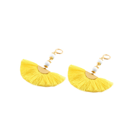 Casey Earrings with cream lava and silk fan - Silk Road Collection