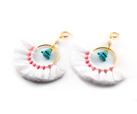 Odilia Earrings with silk blend fan, turquoise resin buddha, cream lava and gold toned accents - Silk Road Collection