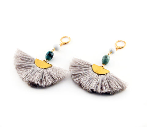 "Ada ""Grey"" Earrings with cream lava, turquoise bead and silk blend fan with gold toned accents - Silk Road Collection"