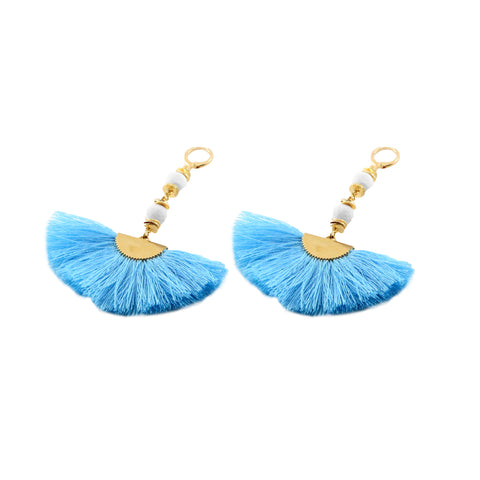 Casey Earring with cream lava and silk fan - Silk Road Collection