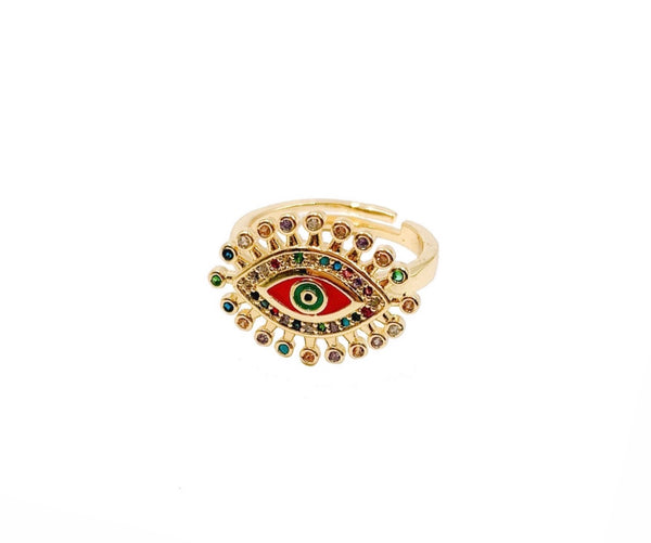 Red Enamel Evil Eye Ring - GOLD COLLECTION
