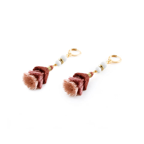 "Zoe Earrings ""Pink"" with silk blend tassel, cream lava and gold toned accents - Silk Road Collection"